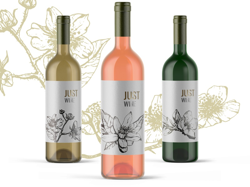 The floral illustration set for the wine labels design vector illustration