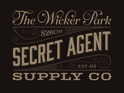 The Wicker Park Secret Agent Supply Co 826chi secret agent logo swirly