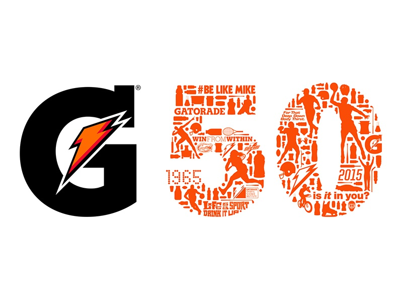Gatorade Heritage Logo gatorade logo collage silhouette logo design 50 anniversary