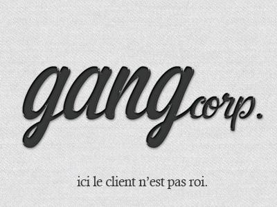 Gangcorp. logo texture paper emboss type script card
