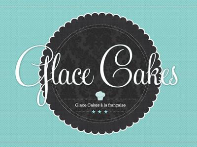 Glace Cakes logo oldschool old french cake food circle script insigne ensign emblem écusson glace candy shop tea blue grey vintage