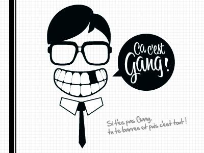 Ça c'est Gang ! logo glasses suit minimalist tie black and white bubble collective vintage