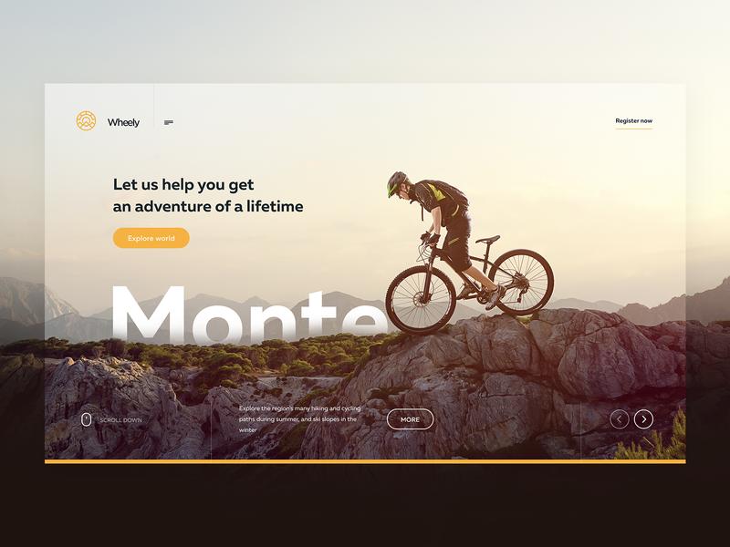 Tourist Site concept mountain concept logo outdoor bike hero ui ux design