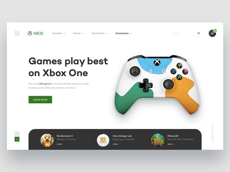 Xbox Website Concept controller game redesign gamepad microsoft xbox digital ux ui webdesign website interaction design interface shape web ui ux design