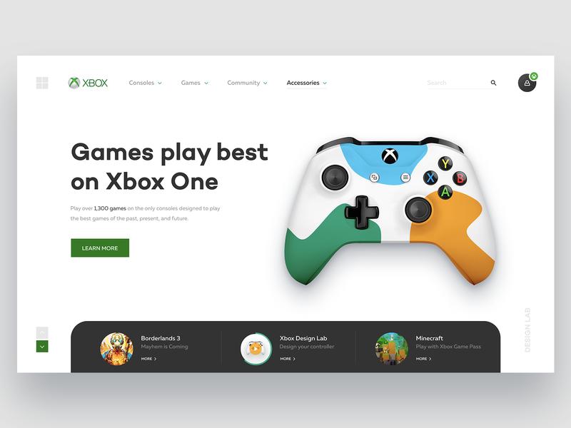 Xbox Website Concept controller game redesign gamepad microsoft xbox digital ux ui webdesign website interaction design interface shape web ui ux design