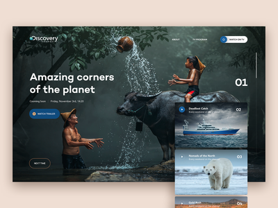 Discovery Channel Website Concept screen redesign prototype television documentary slider tv channel discovery discovery channel hero concept webdesign website interaction design digital web ui ux design