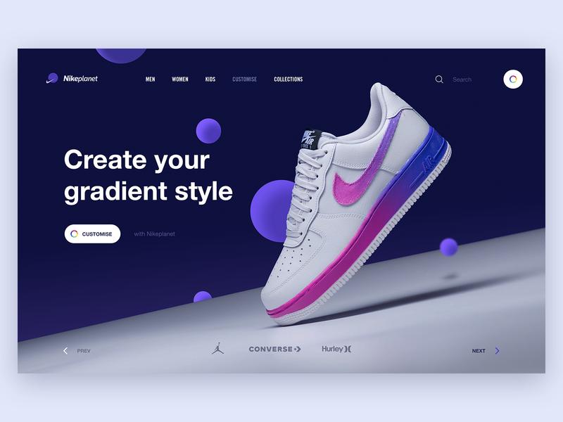 Nikeplanet nikeplanet nike air air sneakers customise planet nike digital landing page concept webdesign website interaction design gradient hero web ui ux design