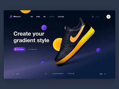 Nikeplanet Concept v.2 website webdesign web ux ui sneakers planet nikeplanet nike air nike landing page interaction design hero gradient digital design customise concept air