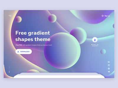 Free gradient shapes theme free psd psd freebies freebie landing page concept digital web ux webdesign website hero interaction design gradient shapes design