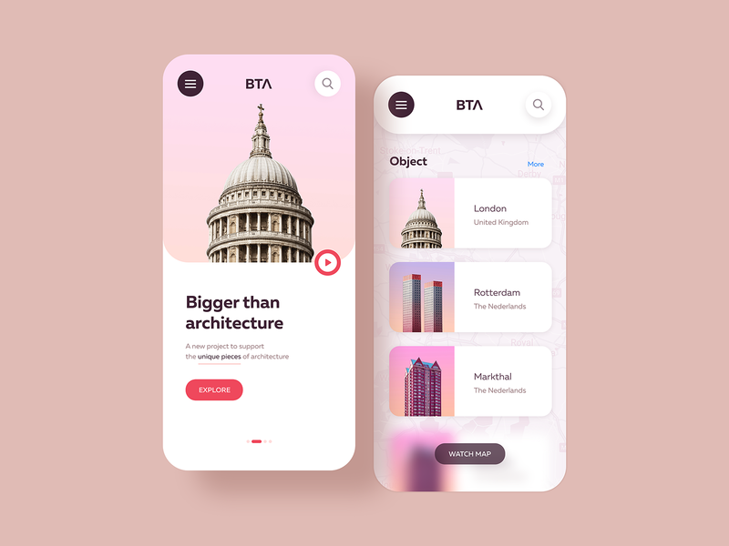 Bta Mobile Concept ios app town screen prototype place building art architecture webdesign ui ux web interaction design design mobile