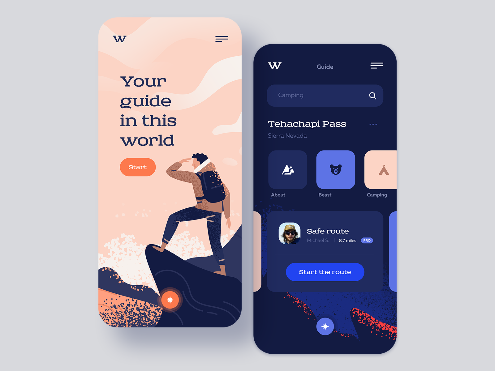 Backpacker app concept by Fred Zachinov for Shakuro on Dribbble