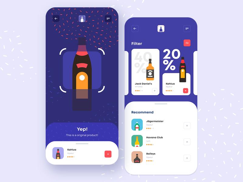 Smart Shopping App mobile ui mobile app application app design user inteface colors bottle alcohol shop mobile ios app smart scanner shopping app illustration interaction design ui ux design