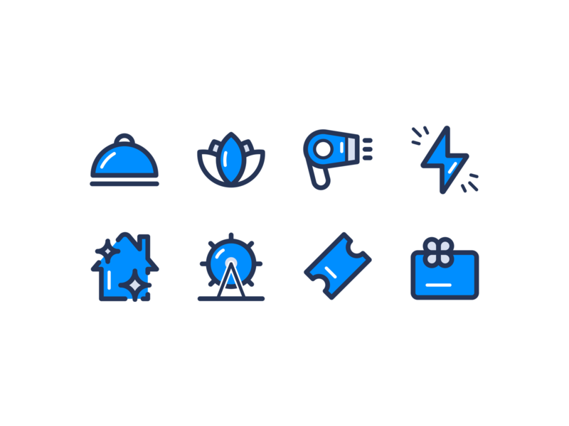 Icons illustrator lifestyle app iconset vector food and drink gift card movies activities home service pulse salon spa food illustration icon