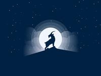 Goat art illustration vector animal flat moon mountains goat debute icon