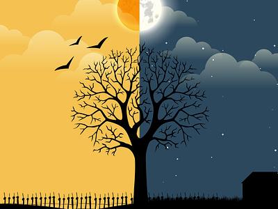 Day and Night day night illustration design graphic icon illustrator flat vector art