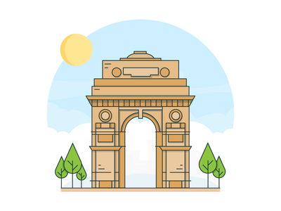 India Gate building heritage vector delhi india landmark icon illustration cityscapes india gate