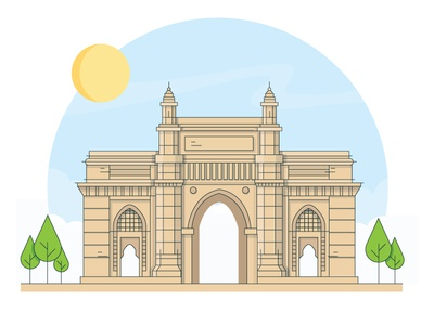 Gate Way Of India gate way of india sun sky vector landmark illustration icon heritage india mumbai cityscapes building