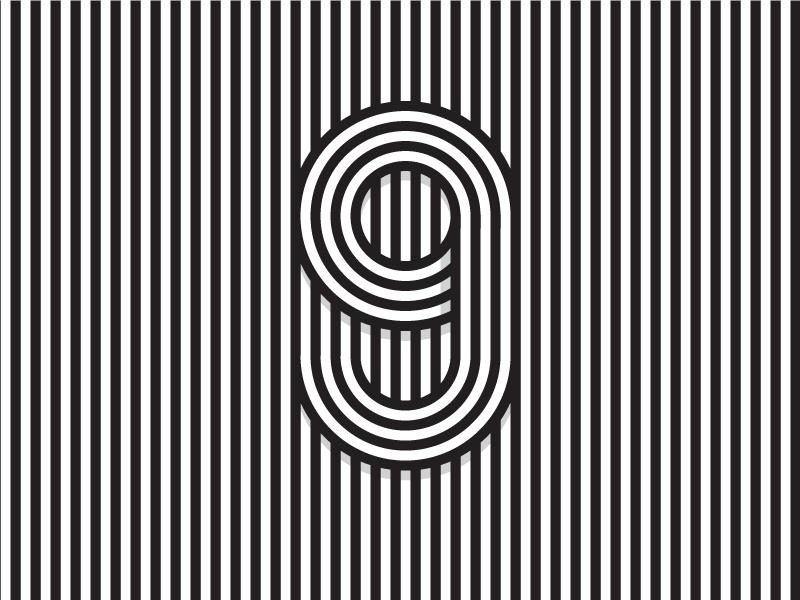 Number 9 36daysoftype typography white black lines illustration logo 9 number