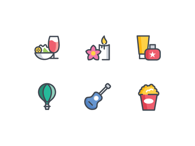 Icons activities hobbies salon spa movie food iconset category illustration ui mobile icons