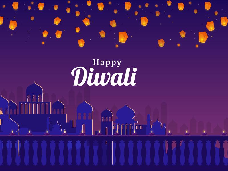 Diwali celebration design vector dribbble night lanterns lights style india diwali icon illustration