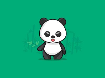 Panda flat design character logo flat icon design dribbble vector illustration panda