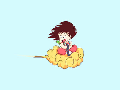 Goku cute line vector anime cloud character icon dribbble illustration dbz goku