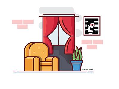 Room architecture dribbble logo icon plant portrait illustration sofa window room