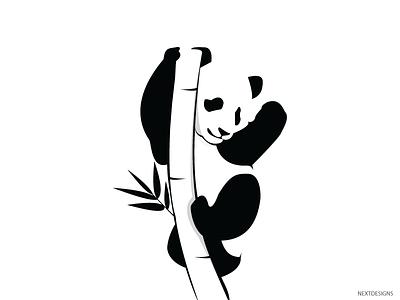 Panda graphic graphicdesign black flat design illustrator dribbble avatar character design icon comic cartoon art vector inspiration panda logo branding bamboo illustration