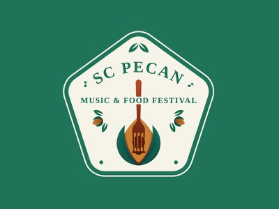 SC Pecan, Music & Food Festival nuts fork guitar festival food music pecan illustration minimal logo design branding