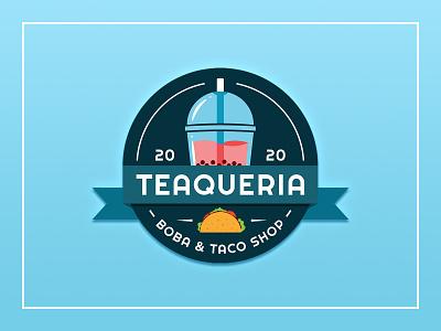 Teaqueria delivery shop vector design logodesign logo branding taqueria boba tea boba taco