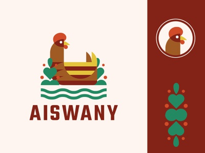 Aiswany greens bush hen chicken vector bird logo bird minimal logo design branding