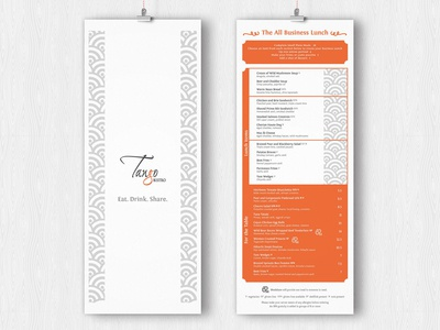 Tango Menus tango bistro orange clean restaurant menu restaurant menu
