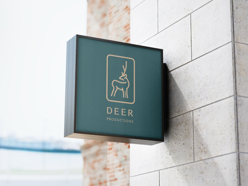 Deer Production Logo logoidea logoinspiration mockup green graphic logo studio production deer flat professional modern minimalist minimal illustration design custom creative concept branding