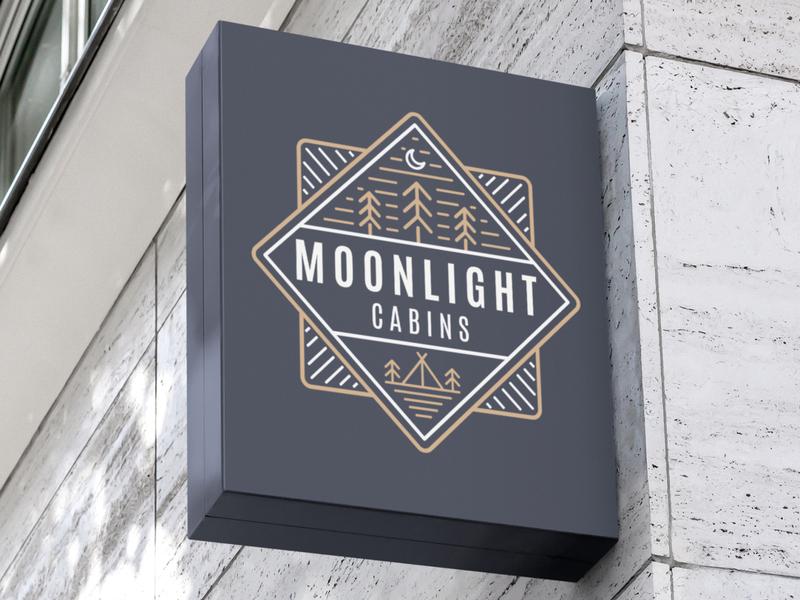 Moonlight Cabins Logo motel coffee logo design ui hotels cabins cabin light moon moonlight modern minimalist minimal logo illustration design custom creative concept branding