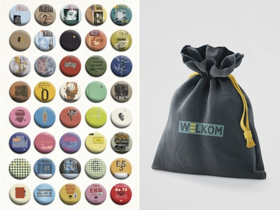 WELKOM | Museum Expo Identity typeface typography technology digital design pixel zuzana licko rudy vanderlans colorful posters bag pouch badges graphic  design merchandise design museum identity museum exposition museum identity branding merchandising