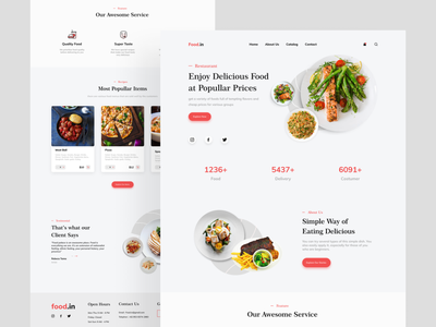 Food.in Restaurant Landing Page websites ux design uidesign website web design ux web animation app flat logo illustration icon branding ui art design