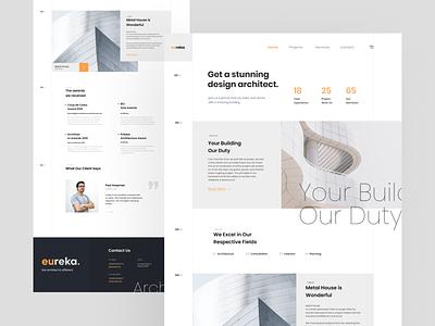 Eureka-Architecture Landing Page rebounds clean ui minimalist landing page architecture design uiux uiuxdesign website uidesign rebound web ux ui