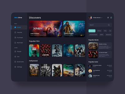 Movie Dashboard ux illustration website uidesign uiux design app web motion graphics graphic design 3d animation logo branding ui
