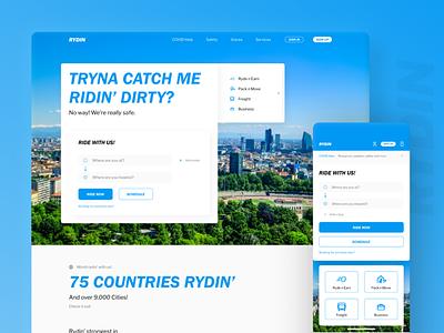 Rydin - Concept Web Landing Page landing page concept design rydin uber graphic  design website concept ui design web design website design web ui