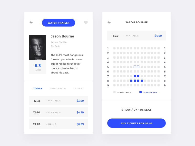 CinemaApp watch tickets redesign movie kinomax ios films concept cinema app