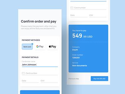 Payment checkout. Desktop+mobile. web app payment methods order credit card checkout payment pay form e-commerce