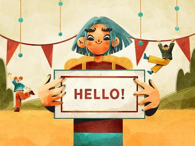 Hello Dribbble! drawing art design character artwork illustration procreate celebration texture