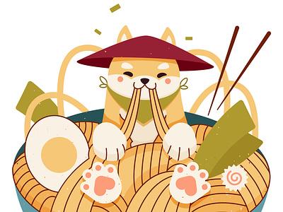 Shiba Inu and Ramen art artwork character dog print grunge texture illustration