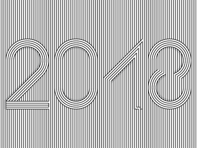 2018 linework white black design artwork new-year lines numbers number 2018