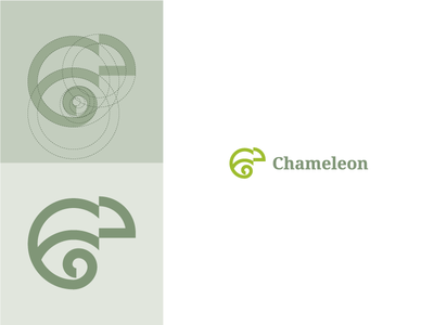 Chameleon project mark construction nature green line simple chameleon design logo