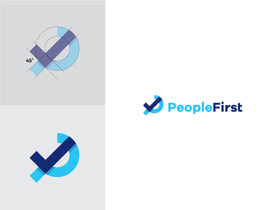 "Letter ""P"" + Check mark people construction circle simple blue symbol design logo mark check p letter"