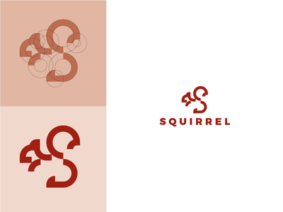 Squirrel autumn red lines construction simple symbol design logo squirrel