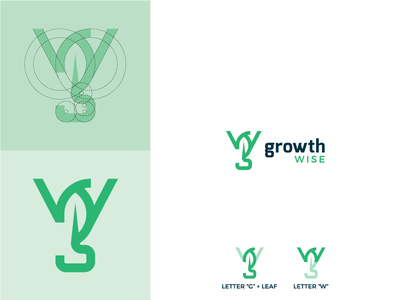 GW + leaf growth construction green leaf simple design logo w g letters monogram