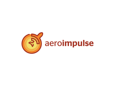 aeroimpulse circles circle mark airplane symbol impulse airline plane orange design logo