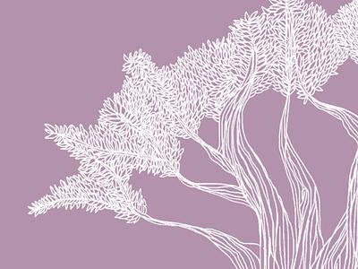 Listen to the trees line art leaves nature procreate line illustration tree